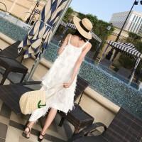沙滩裙女夏2018新款小心机显瘦连衣裙露肩海岛沙滩长裙海边度假裙 白色
