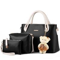 【支持礼品卡支付】包包女新款潮女包时尚拼色子母包小熊斜挎单肩手提包   X18