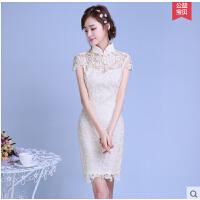 修身旗袍 新款时尚改良版少女日常蕾丝连衣裙学生短款