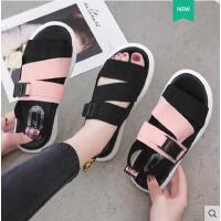 百搭潮款韩版休闲运动凉鞋女平底弹力带厚底罗马学生沙滩鞋