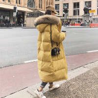 韩版宽松a字羽绒孕后期孕妇冬装外套冬季棉袄中长款大码棉衣