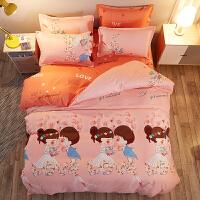 纯棉床单三件套学生宿舍单人1.2m床上用品1.5米全棉被套2被罩两件 粉红色 甜蜜爱恋