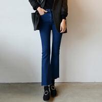 韩国秋冬深蓝色弹力中高腰撕毛边喇叭裤牛仔加绒加厚九分微喇裤女 深蓝色 现货