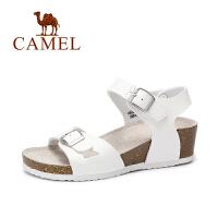 Camel/骆驼女鞋 舒适休闲 PVC双方扣中跟坡跟魔术贴凉鞋沙滩鞋