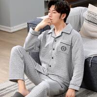 秋冬季男士睡衣三层保暖夹层纯棉长袖休闲薄夹棉加大码家居服套装