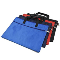 博顿(bodun)牛津布双层拉链手提袋文件袋档案袋公文包公文袋 B4风琴包 加厚版