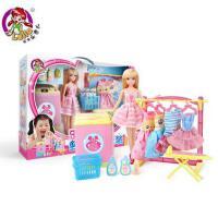 乐吉儿芭比娃娃套装大礼盒过家家洗衣服换装公主玩具屋女孩礼物