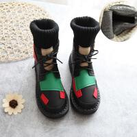 糖果拼色马丁靴2019春秋韩版平底靴子毛线筒复古系带短靴女鞋 黑色 单靴