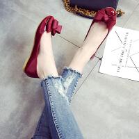 瓢鞋女春秋季圆头小码33-34浅口平底单鞋工作鞋平跟大码女鞋40-43 酒
