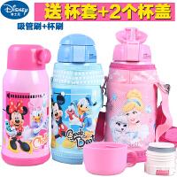 迪士尼米奇男女童不锈钢儿童保温杯带吸管宝宝水杯子大容量便携卡通小学生5779