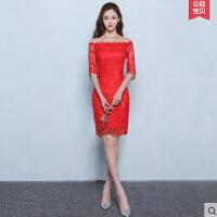 色结婚礼服 新款新娘敬酒服旗袍短款红女修身性感鱼尾长款