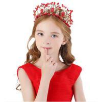 配饰时尚简约新款儿童发饰灰姑娘花童婚纱礼服配饰新年红色女童头饰潮
