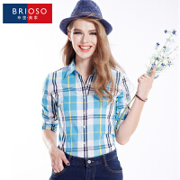 BRIOSO 2017春装新款女式纯棉长袖格子衬衫 基础百搭韩版时尚修身长袖衬衫 大码女装衬衣 WE2595