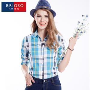 BRIOSO 女士纯棉格子衬衫 秋装新款韩版百搭时尚修身长袖衬衫 大码基础女装衬衣 WE2595