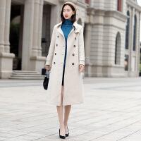 新女大衣2018秋冬新款女双面呢大衣女宽松时尚风衣阿尔巴卡羊毛大衣