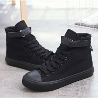 全黑色帆布鞋子女高帮秋款韩版百搭学生嘻哈高邦平底板鞋潮34小码