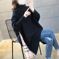 孕妇秋冬装大码蝙蝠衫毛衣外套韩版宽松中长款高领针织衫