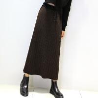秋冬季韩版毛线裙子中长款针织半身裙宽松百搭包臀及踝长裙学生女