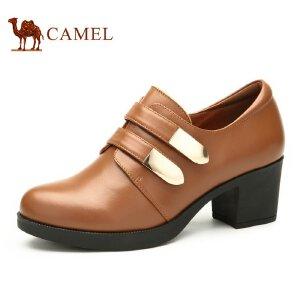 Camel骆驼女鞋 时尚休闲 魔术贴扣带粗跟牛皮女鞋 新款女鞋