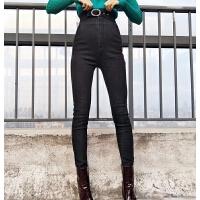 高腰牛仔裤女冬2017新款韩版时尚圆扣腰带加绒保暖弹力修身小脚裤