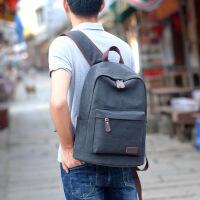 时尚潮流男背包大学生帆布双肩包初中高中学生书包校园韩版青年