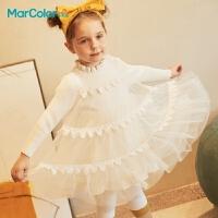巴拉巴拉旗下马卡乐童装冬季新款女童花边领口网纱拼接梦幻公主连衣裙