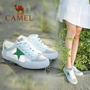 camel骆驼女鞋 时尚休闲 牛皮拼透气网布圆头系带运动单鞋小白鞋