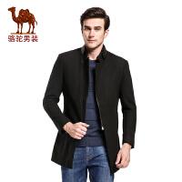 骆驼&熊猫联名系列男装 立领男士英伦休闲中长款修身毛呢大衣外套