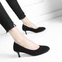 细跟圆头绒面黑色工作鞋职业优雅女鞋上班办公高跟鞋春秋单鞋礼仪