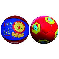 费雪(Fisher Price)儿童玩具球二合一 (7寸篮球狮子+儿童足球18cm 赠送打气筒)
