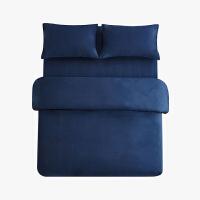 当当优品色织四件套 纯棉日式水洗磨毛床品 双人1.5米床 深蓝