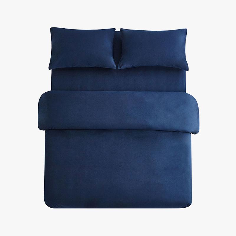 当当优品色织四件套 纯棉日式水洗磨毛床品 双人1.5米床 深蓝当当自营 MUJI制造商代工