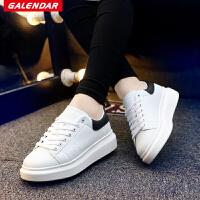 Galendar男子板鞋2017新款轻便百搭燕子小白鞋男生系带休闲板鞋 QDG82
