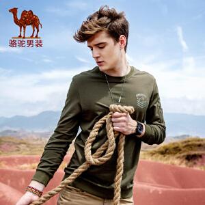 骆驼男装 秋季新款圆领套头男士卫衣休闲时尚男长袖上衣