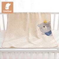 威尔贝鲁 纯棉婴儿毛毯 宝宝毯子盖毯春秋新生儿童卡通被子