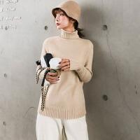【春节特惠 一件五折】毛衣 女士秋冬新款长袖厚版宽松打底衫上衣女式纯色高领套头衫学生毛衫针织衫