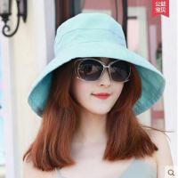 可折叠凉帽薄款韩版休闲户外新款遮阳帽 女多功能沙滩渔夫帽盆帽布太阳帽防晒