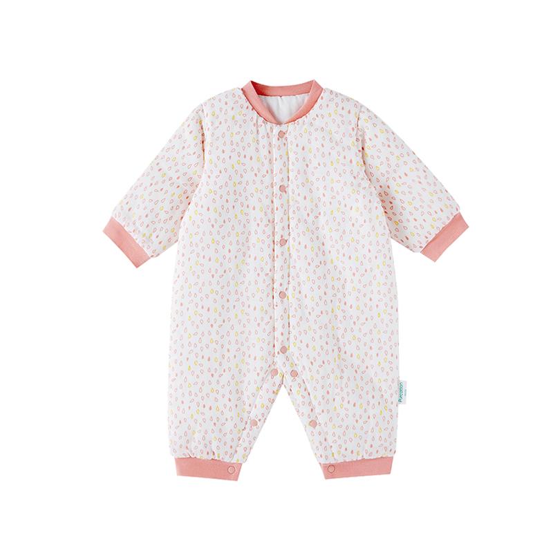 全棉时代 粉水滴婴儿专用纱布厚款长袖连体衣 1件装