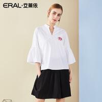ERAL/艾莱依2018新款小立领荷叶袖纯棉衬衣女长袖宽松刺绣白衬衫667C013006