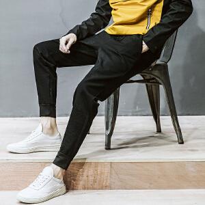 青少年港风新款修身束脚男士韩版休闲裤青年运动裤子哈伦长裤