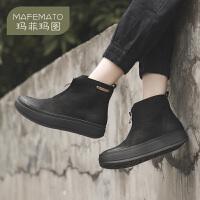 玛菲玛图欧美短靴女春秋单靴子厚底绑带靴2019新款前拉链复古做旧大头皮靴70165-4P