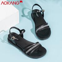 奥康凉鞋女夏季时尚简约休闲一字带水钻罗马平底凉鞋