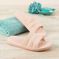 当当优品 居家浴室拖鞋 轻便软底防滑沙滩洗澡凉拖鞋女款 浅粉38-39码BF7005(适合37-38码穿)