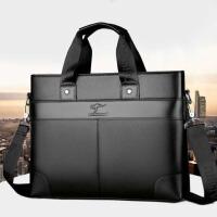 凌智袋鼠男士公文包新款男士手提包商务包单肩斜挎包时尚男包背包-黑色普通款手提包