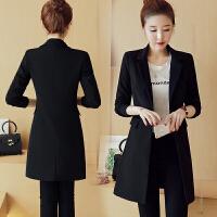 西装外套女黑色2018春秋新款韩版时尚中长款修身大码休闲西服上衣 黑色