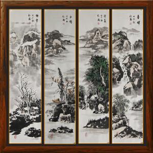 山水四条屏《春晖、清夏、秋韵、瑞雪》作者松涛【R1925】