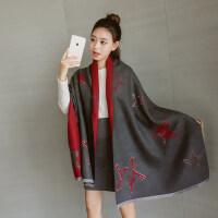 新款仿羊绒围巾韩版女秋冬加厚披肩多功能五角星针织保暖围脖双面