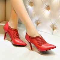 娜箐箐韩版真皮水钻网纱女鞋尖头细跟透气高跟鞋单鞋
