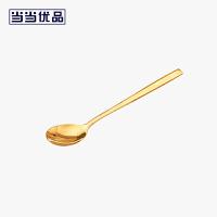 当当优品 304不锈钢韩式实心扁勺套装 钛黄金色2支装