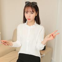 衬衫 女士春季新款雪纺衫长袖立领韩范修身学生打底女式套头时尚休闲衬衣.